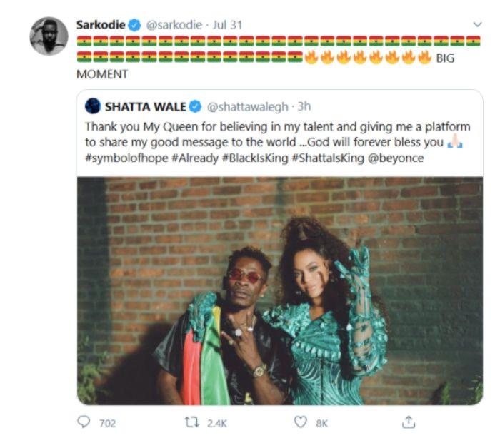 Sarkodie congratulates Shatta Wale