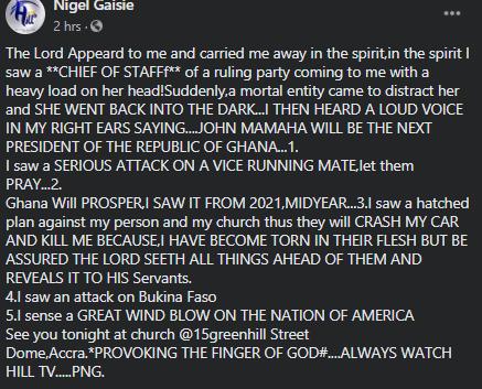 Prophet Nigel Gaisie speaks
