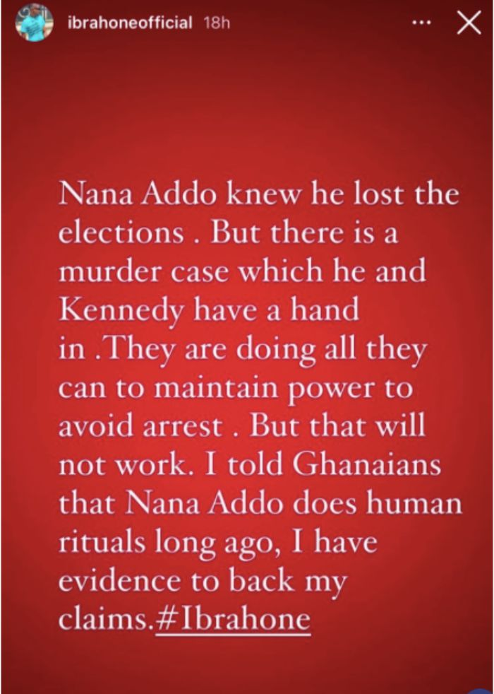 Ibrah One exposés a murder committed by Akufo Addo and Kennedy Agyapong
