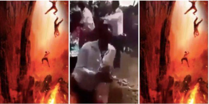Church members walk in fire