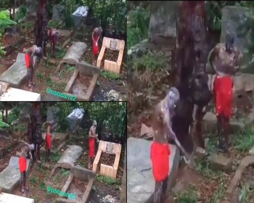 """Video: Three Boys Bathing At The Cemetery For """"money ritual"""" Purpose Causes Stir"""