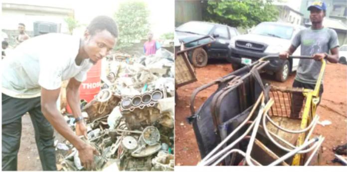 Master's degree holder now sells scraps for survival