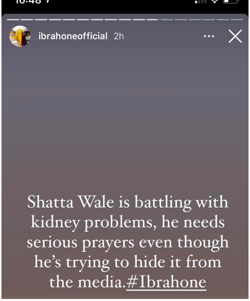 Shatta Wale is battling with kidney failure