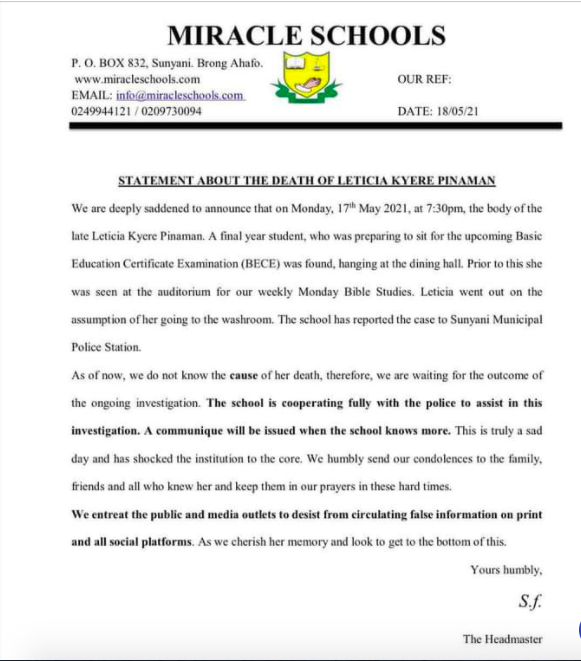 Miracle JHS releases statement